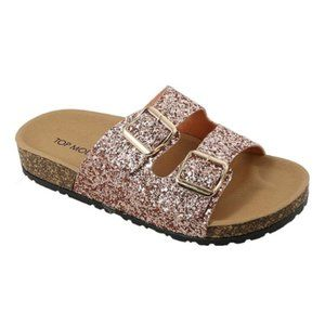 Top Moda Rose Gold Glitter Sandal slides